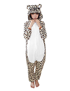 billige Kigurumi-Kigurumi-pysjamas med tøfler Leopard Onesie-pysjamas Kostume Korallfleece Brun Cosplay Til Voksne Pysjamas med dyremotiv Tegnefilm