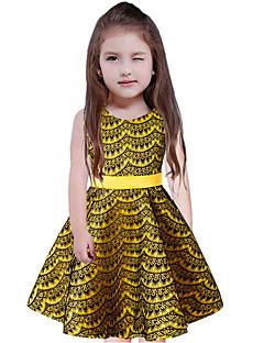 billige Pigekjoler-Pigens Kjole Bomuld Polyester Uden ærmer Afslappet Gul Rosa