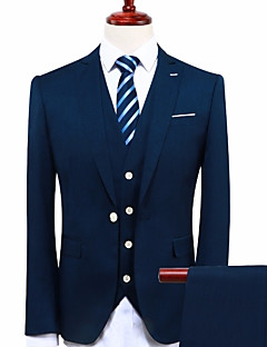 Navy Blue Standard Fit Polyester Suit - Peaked Lapel Single Breasted One-button