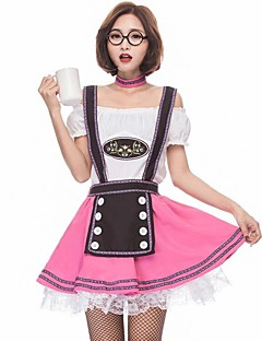 cheap Men's & Women's Halloween Costumes-Maid Costume Oktoberfest Cosplay Costume Women's Halloween Carnival Oktoberfest Festival / Holiday Halloween Costumes White Color Block