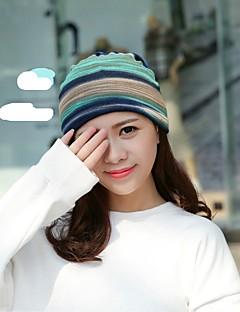 billige Trendy hatter-Dame Solhatt - Flettet, Stripet Bomull