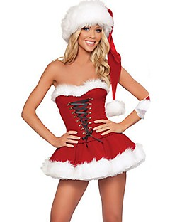 旅行 サンタクロース セット 女性用 クリスマス イベント/ホリデー ハロウィーンコスチューム レッド ソリッド 休暇 クリスマス