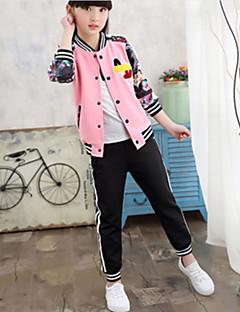 Mädchen Kleidungs Set Druck Polyester Herbst Langärmelige Einfach Weiß Rosa