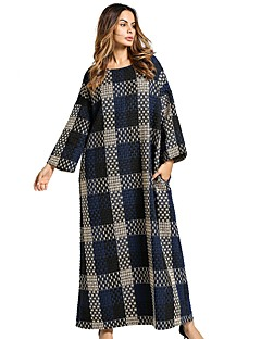Women's Daily Tunic Dress,Plaid Round Neck Maxi Long Sleeve Linen All Season Mid Rise Inelastic Opaque