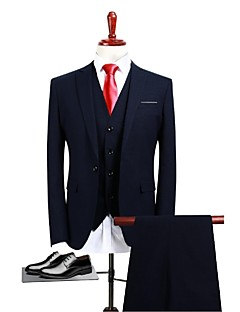 Navy Blue Solid Standard Fit Polyester Suit - Peak Single Breasted One-button