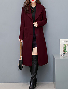 Women's Daily Simple Casual Winter Fall Coat,Solid Notch Long Sleeves Regular Polyester Stylish