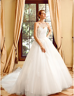 billiga Brudklänningar-Balklänning Smala axelband Kapellsläp Tyll på spets Bröllopsklänningar tillverkade med Applikationsbroderi / Spets av LAN TING BRIDE®