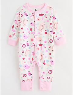 billige Babytøj-Baby En del Mønstret, Bomuld Efterår Langærmet Lyserød
