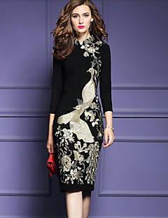 Women's Party Plus Size Vintage Street chic Bodycon Dress,Embroidered Stand Knee-length 3/4 Sleeve Polyester Fall Mid Rise Inelastic Thick