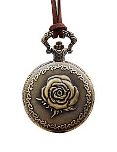 billige Blomster-ure-Dame Lommeure Kinesisk Quartz Afslappet Ur Læder Bånd Blomst Elegant Brun