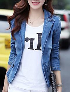 Damen Solide Rasen Jeansjacke,Hemdkragen Frühling Lange Ärmel Standard 20% Wool21% Polyester 59% Viskose