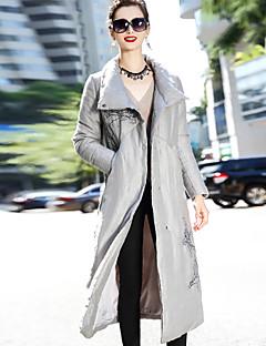 Feminino Longo Casaco Duvet,Simples Temática Asiática Sólido Vintage Wear to work Casual-Linho Manga Longa