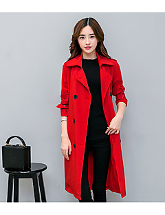 Women's Going out Casual/Daily Simple Fall Winter Trench Coat,Solid Shirt Collar Long Sleeves Long Acrylic Polyester Spandex