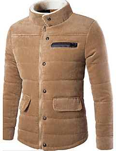 Men's Regular Padded Coat,Casual Daily Solid-Cotton Long Sleeves