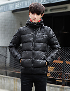 Men's Padded Coat,Casual Daily Color Block Camouflage-Cotton Long Sleeves