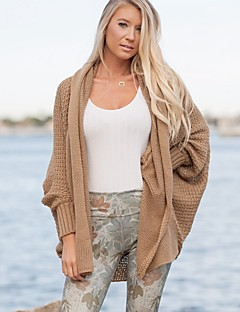 baratos Suéteres de Mulher-Mulheres Manga Longa Longo Carregam - Sólido, Tricôt