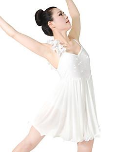 Ballett Kjoler Dame Barne Opptreden Spandex Elastisk Mesh Paljetter Plissert Strå Ermeløs Naturlig Kjoler Hodeplagg