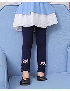 billige Bukser og leggings til piger-Pige Bukser Ensfarvet, Bomuld Rayon Vinter Efterår Afslappet Sort Navyblå