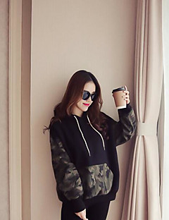 Women's Cotton Hoodie Camouflage Round Neck Micro-elastic Cotton Modal Acrylic Long Sleeves Winter