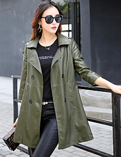 Women's Daily Going out Simple Casual Winter Fall Leather Jacket,Solid Shirt Collar Long Sleeves Long PU