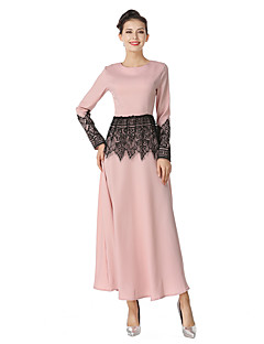 cheap Maternity Dresses-Women's Daily Going out Vintage Street chic A Line Sheath Dress,Solid Hollow Round Neck Maxi Long Sleeve Cotton Linen Polyester Winter