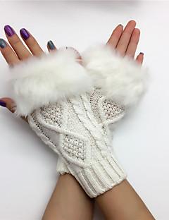 baratos Acessórios de Inverno-Mulheres Fofo Até o Pulso Meio Dedo Luvas - Com Transparência Sólido