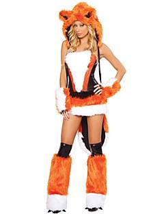 billige julen Kostymer-Nisse drakter Drakter Dame Jul Festival / høytid Halloween-kostymer Hvit Oransje Brun Ensfarget