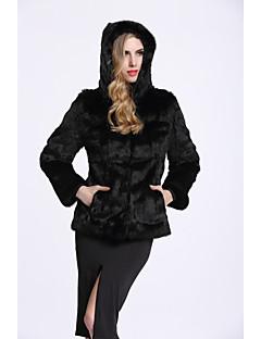 Feminino Casaco de Pêlo Casual Sofisticado Outono Inverno,Sólido Padrão Pêlo de Coelho Poliéster Manga Longa