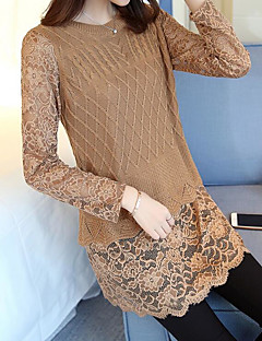 Women's Daily Regular Pullover,Solid Round Neck Long Sleeves Cotton Winter Fall Medium Stretchy