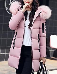 Damen Daunen Mantel Einfach Lässig/Alltäglich Solide-Polyester Polyester Langarm
