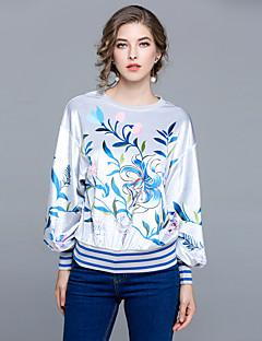 preiswerte -Damen Blumen Retro Lässig/Alltäglich Ausgehen T-shirt,Rundhalsausschnitt Winter Herbst Langarm 100% Polyester Mittel