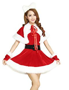 billige julen Kostymer-Nisse drakter Mrs.Claus Cosplay Kostumer Dame Jul Festival / høytid Halloween-kostymer Rød Lapper