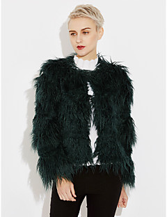 Women's Going out Plus Size Simple Winter Fall Fur Coat,Solid V Neck Long Sleeve Regular Faux Fur