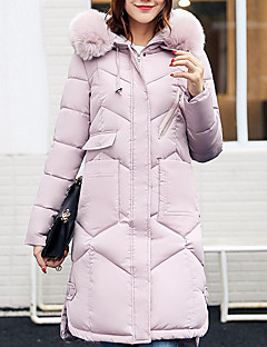 Women's Long Padded Coat,Casual Street chic Daily Solid-Polyester Polypropylene Long Sleeves
