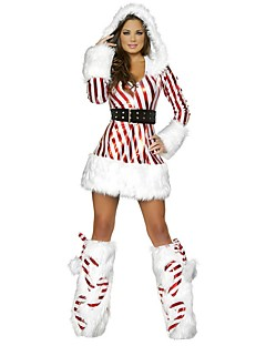 Holiday Santa Claus Outfits Female Christmas Festival / Holiday Halloween Costumes Red Striped
