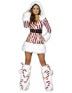 billige julen Kostymer-Ferie julenissen Drakter Kvinnelig Jul Festival / høytid Halloween-kostymer Rød Stripet