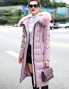 Feminino Longo Casaco Duvet,Simples Sólido Wear to work Casual-Poliéster Pant Long