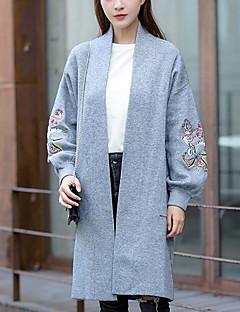 baratos Suéteres de Mulher-Mulheres Para Noite Moda de Rua Manga Longa Longo Carregam - Sólido / Animal / Colarinho Chinês / Inverno