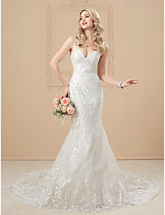 cheap Wedding Dresses-Mermaid / Trumpet Sweetheart Neckline Chapel Train Satin / Tulle Over Lace Made-To-Measure Wedding Dresses with Appliques / Buttons by LAN TING BRIDE® / Open Back