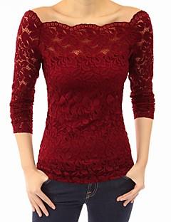 Χαμηλού Κόστους Off The Shoulders-Γυναικεία T-shirt Μονόχρωμο Ώμοι Έξω / Δαντέλα