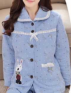 Women's Suits Pajamas,Animals Cotton Polyester Blushing Pink Light Blue