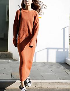 レディース お出かけ カジュアル/普段着 秋 冬 ニット スカート スーツ,ストリートファッション ラウンドネック ソリッド アクリル 長袖