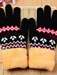 ユニセックス 冬 オフィス カジュアル ニット プリント 手首丈 指先 ブラック グレー
