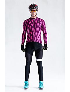 billige Sykkelklær-Malciklo Langermet Sykkeljersey med bib-tights - Burgunder Sykkel Klessett, Fort Tørring, Anatomisk design, Refleksbånd Geometrisk / Elastisk / Høy Elastisitet