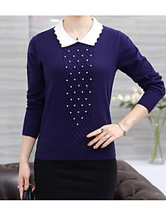 Women's Casual/Daily Regular Pullover,Print Round Neck Long Sleeves Cashmere Wool Cotton Winter Fall Medium Micro-elastic