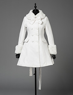 Coat Steampunk® Coats Vintage Style British Cosplay Lolita Dress White Solid Color Long Sleeves Coat For Wool Woolen