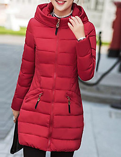 Women's Regular Down Coat,Street chic Daily Going out Solid-Cotton Polypropylene Long Sleeves