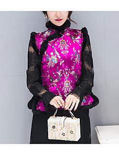 Damen Druck Einfach Chinoiserie Ausgehen Lässig/Alltäglich Weste,Ständer Herbst Winter Ärmellos Standard Baumwolle Kunstseide Acryl