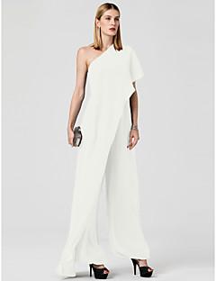 billiga Klänningar till speciella tillfällen-Jumpsuit Enaxlad Golvlång Chiffong Bröllopsfest / Helgdag Klänning med Draperad av TS Couture®