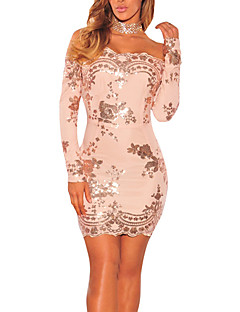Women's Party Club Vintage Sexy Bodycon Dress,Patchwork Sequin Boat Neck Mini Long Sleeve Polyester Sequins Spring Fall Mid Rise